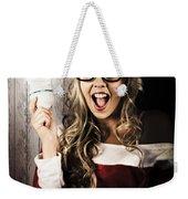 Smart Female Santa Claus With Christmas Idea Weekender Tote Bag