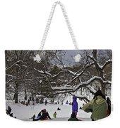 Snowboarding  In Central Park  2011 Weekender Tote Bag