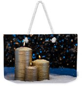 Three Gold Candles In Snow  Weekender Tote Bag
