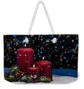 Three Red Candles In Snow  Weekender Tote Bag
