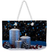 Three Silver Candles In Snow  Weekender Tote Bag