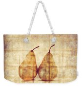 Two Yellow Pears On Folded Linen  Weekender Tote Bag