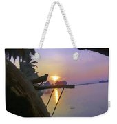 View Of Sunrise From Boat Weekender Tote Bag