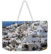 Windmills And White Houses In Oia Weekender Tote Bag