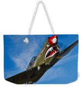 A Curtiss P-40e Warhawk In Flight Weekender Tote Bag