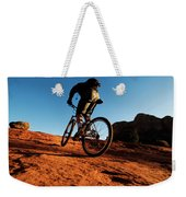 A Middle Age Man Rides His Mountain Weekender Tote Bag