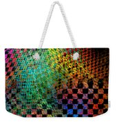 Abstract Checkered Pattern Fractal Flame Weekender Tote Bag by Keith Webber Jr