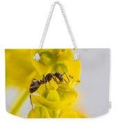 Black Garden Ant On Yellow Flower Weekender Tote Bag