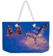 Christmas Lights On Trees And Lawn Chair Weekender Tote Bag
