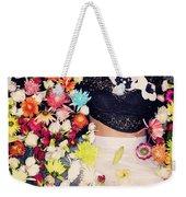 Fashion Model Posing With Flowers Weekender Tote Bag