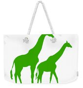 Giraffe In Green And White Weekender Tote Bag
