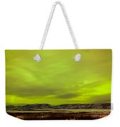 Green Glow Of Northern Lights Or Aurora Borealis Weekender Tote Bag