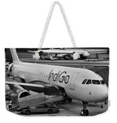 Indigo Aircraft Getting Ready In Changi Airport Weekender Tote Bag