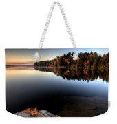 Lake In Autumn Sunrise Reflection Weekender Tote Bag