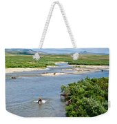 4-lay Of The Land Many Grizzly Bears In Moraine River In Katmai National Weekender Tote Bag