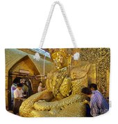 4 M Tall Sitting Buddha With Thick Layer Of Golden Leaves In Mahamuni Pagoda Mandalay Myanmar Weekender Tote Bag
