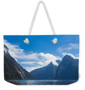 Milford Sound And Mitre Peak In Fjordland Np Nz Weekender Tote Bag