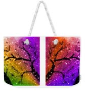 4-panel Snow On The Colorful Cherry Blossom Trees Weekender Tote Bag