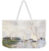 Regatta At Argenteuil Weekender Tote Bag by Claude Monet