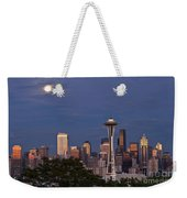 Seattle Skyline With Moonrise And Space Needle Weekender Tote Bag