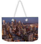 Seattle Skyline With Mount Rainier And Downtown City Lights Weekender Tote Bag
