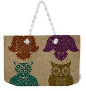 4 Sophisticated Owls Colored Weekender Tote Bag