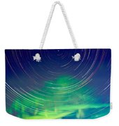 Star Trails And Northern Lights In Night Sky Weekender Tote Bag