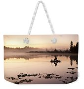 Sunrise In Fog Lake Cassidy With Fishermen In Small Fishing Boat Weekender Tote Bag