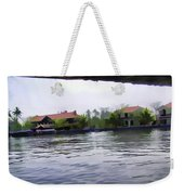 View Of Lake Resort Framed From The Top Of A Houseboat Weekender Tote Bag