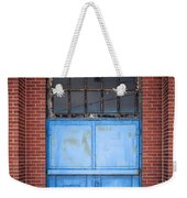 401 Blue Factory Door Weekender Tote Bag