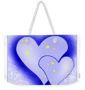 457 - Two Hearts Blue Weekender Tote Bag
