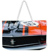 1970 Ford Mustang Boss 302 Grille Emblem Weekender Tote Bag