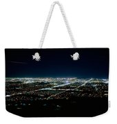 Aerial View Of A City Lit Up At Night Weekender Tote Bag