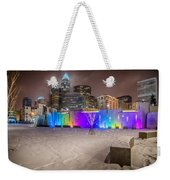 Charlotte Queen City Skyline Near Romare Bearden Park In Winter Snow Weekender Tote Bag