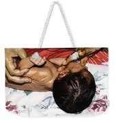 5 Day Old Indian Baby Getting A Light Massage Using Mustard Oil Weekender Tote Bag