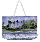 Digital Oil Painting - A Houseboat On Its Quiet Sojourn Through The Backwaters Weekender Tote Bag