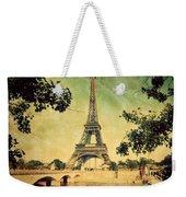 Eiffel Tower And Bridge On Seine River In Paris Weekender Tote Bag