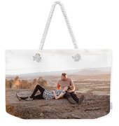 Engaged Couple At Smith Rock In Oregon Weekender Tote Bag