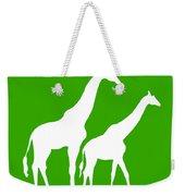 Giraffe In Green And White Weekender Tote Bag