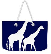 Giraffe In Navy And White Weekender Tote Bag