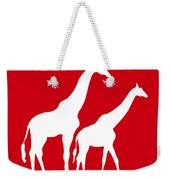 Giraffe In Red And White Weekender Tote Bag