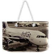 Indigo Aircraft Getting Ready In Changi Airport Weekender Tote Bag