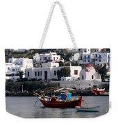 A Boat In The Harbor Of Mykonos Greece Weekender Tote Bag