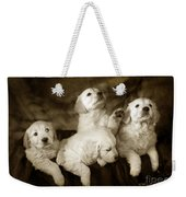 Vintage Festive Puppies Weekender Tote Bag by Angel  Tarantella