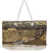 Wildebeests Crossing Mara River, Kenya Weekender Tote Bag
