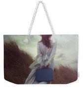 Woman With Suitcase Weekender Tote Bag