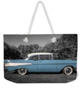 57 Chevy Black And White And Color Weekender Tote Bag