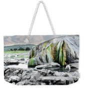 A Woman Sits Alone In Travertine Hot Weekender Tote Bag