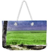 Green Fields With Birds Weekender Tote Bag