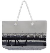 Helix Bridge And Road Bridge Next To Each Other In Singapore Weekender Tote Bag